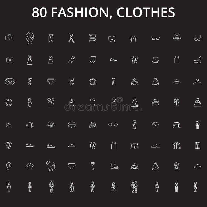 La mode, ligne editable icônes de vêtements dirigent l'ensemble sur le fond noir Mode, illustrations blanches d'ensemble de vêtem illustration libre de droits