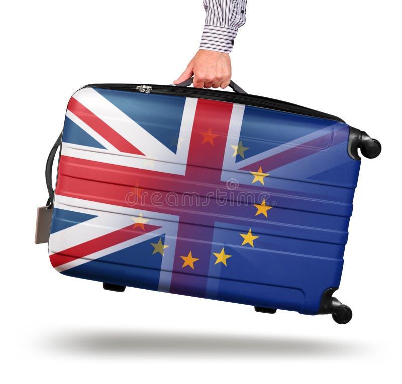 La moderna maleta Union Jack se va de la UE foto de archivo libre de regalías