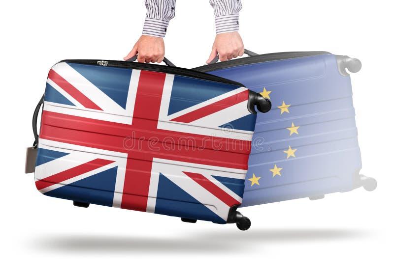 La moderna maleta Union Jack se va de la UE foto de archivo