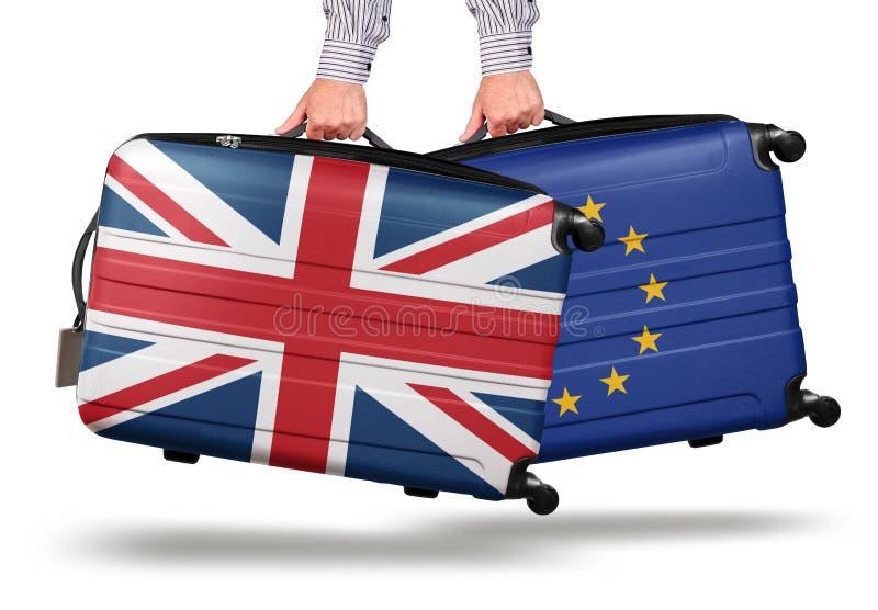 La moderna valigia Union Jack lascia l'UE fotografie stock