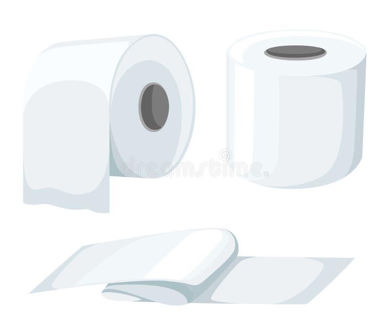 La mofa de papel del rollo instaló aislado en el ejemplo blanco del fondo rollo del papel higiénico, cinta de caja registradora,  ilustración del vector