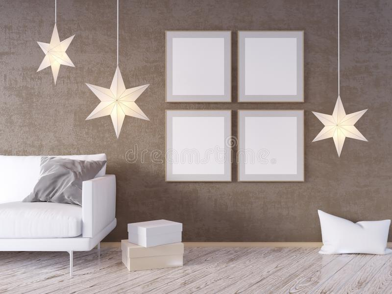La mofa de la pared interior de la sala de estar para arriba con el sofá gris de la tela, las almohadas y Navidad protagonizan en libre illustration
