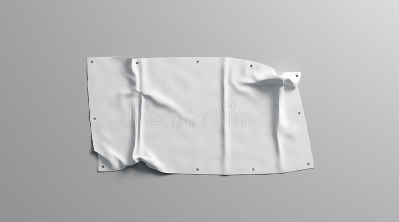 La mofa doblada blanca de la bandera del estiramiento del espacio en blanco para arriba, aisló, fotografía de archivo libre de regalías