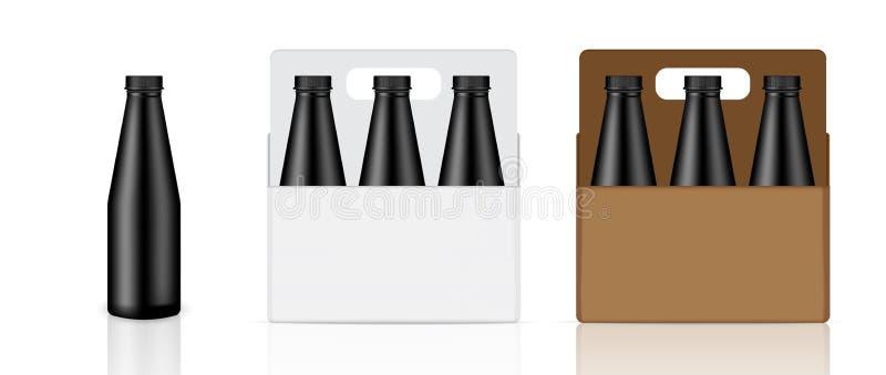 La mofa encima de la botella negra realista, del cartón, de la caja y del producto de empaquetado de la bebida para la leche o el foto de archivo