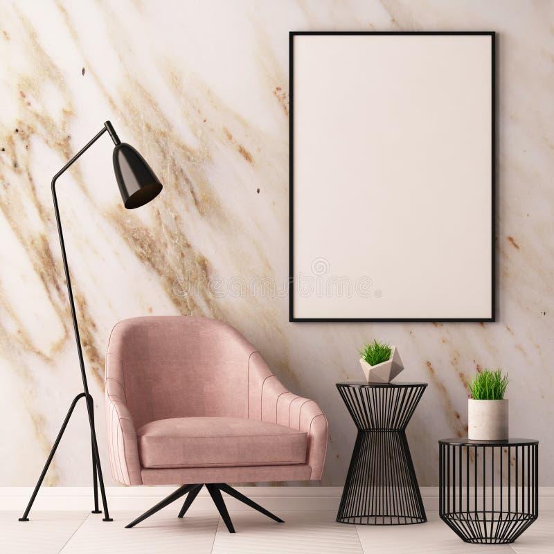 La mofa encima del cartel en el interior con una butaca y una tabla en el fondo de una pared de mármol, 3d rinde, el ejemplo 3d stock de ilustración