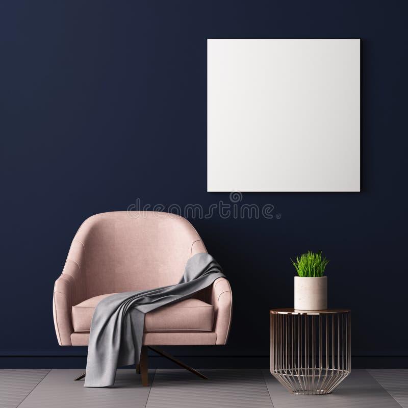 La mofa encima del cartel en el interior con una silla y una tabla, 3D rinde, el ejemplo 3d ilustración del vector