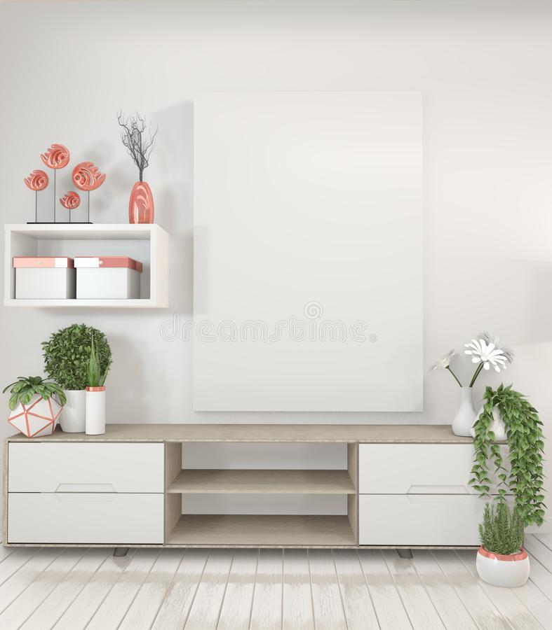 La mofa encima del gabinete del estante de la TV en sitio vacío moderno, imita encima de marco del cartel y de estilo japonés de  stock de ilustración