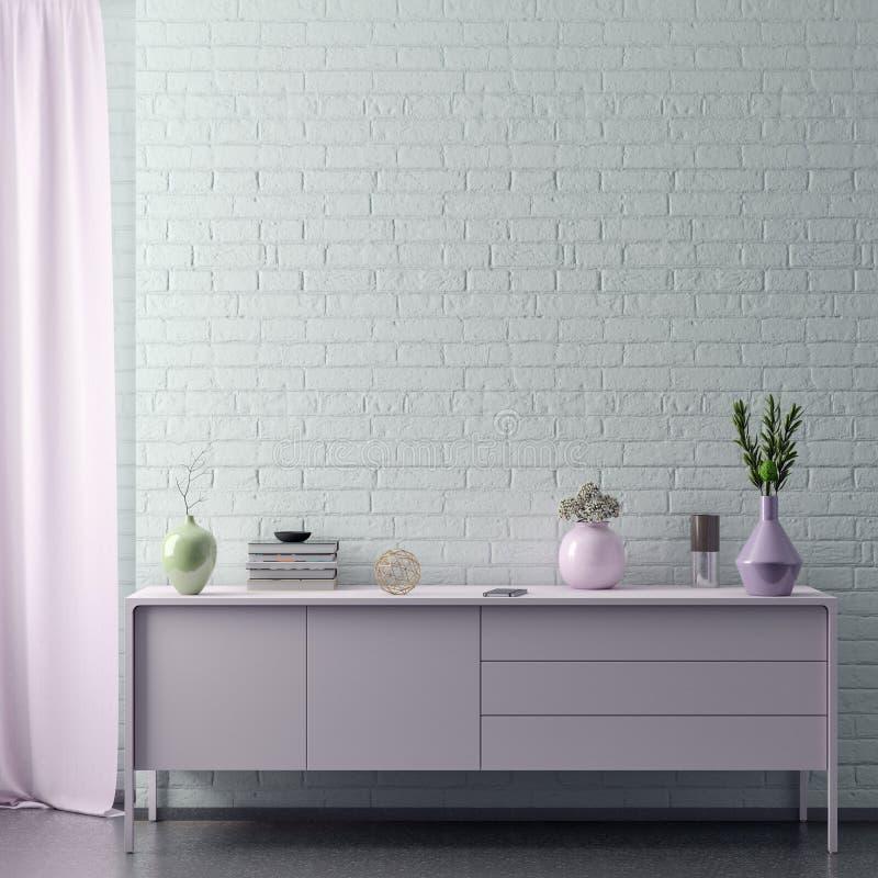 La mofa encima del marco del cartel en fondo interior del inconformista en colores rosados y la pared de ladrillo, 3D rinde, el e foto de archivo libre de regalías