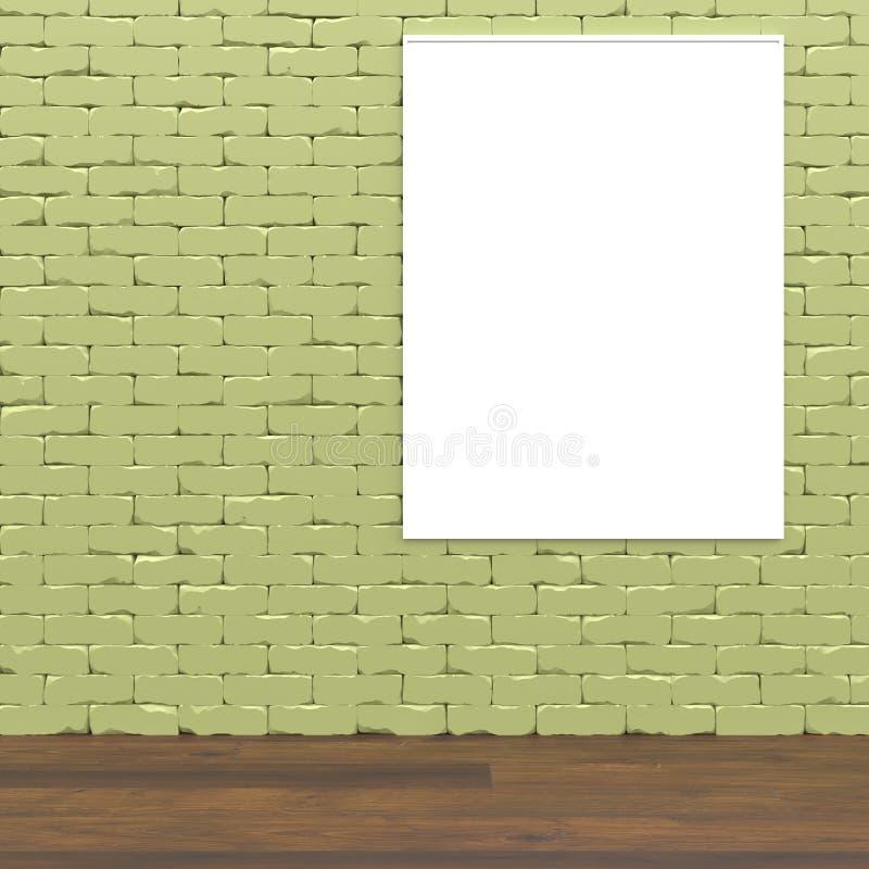 La mofa interior del concepto de la pared verde encima de 3D rinde libre illustration