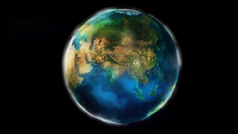 La moitié de jour de la terre de l'espace montrant l'Afrique, l'Asie et l'Océanie illustration stock