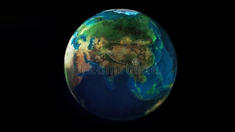 La moitié de jour de la terre de l'espace montrant l'Afrique, l'Asie et l'Océanie illustration libre de droits