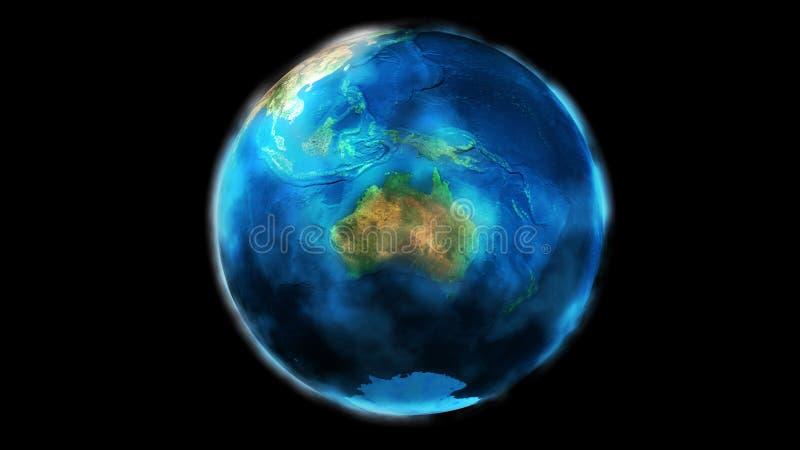 La moitié de jour de la terre de l'espace montrant l'Asie, l'Océanie, l'Australie et l'Antarctique illustration libre de droits