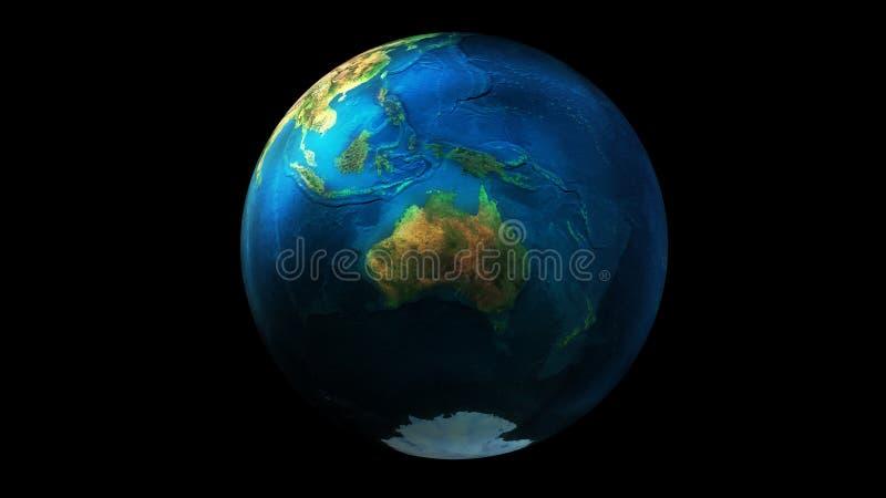 La moitié de jour de la terre de l'espace montrant l'Asie, l'Océanie, l'Australie et l'Antarctique illustration stock