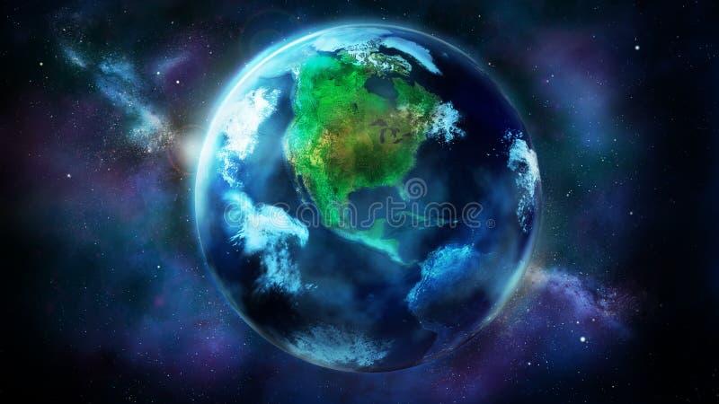 La moitié de jour de la terre de l'espace montrant le nord et l'Amérique du Sud illustration libre de droits