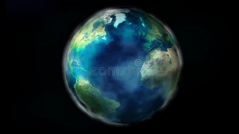 La moitié de jour de la terre de l'espace montrant le nord et l'Amérique du Sud, l'Europe et l'Afrique illustration stock