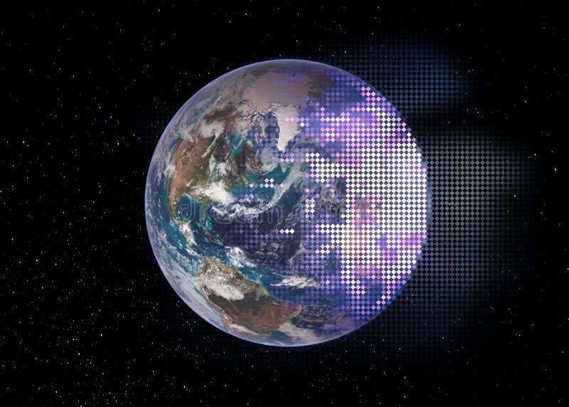 La moitié de la terre de planète décomposent en tuiles de losange de mosaïque de technologie illustration libre de droits