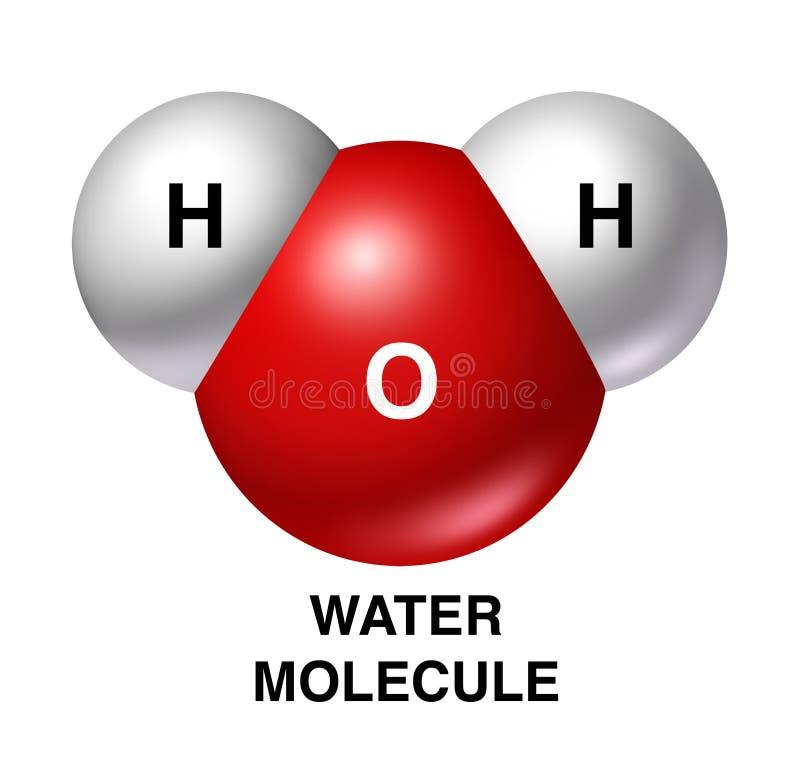 La molécula de agua h2o aisló el wh del rojo del hidrógeno del oxígeno ilustración del vector