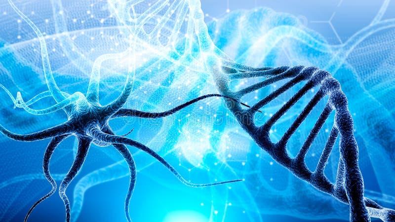la molécula de la DNA 3d consiste en derrumbarse de partículas móviles Mutación genética y virus de lucha Ciencia y concepto del  ilustración del vector