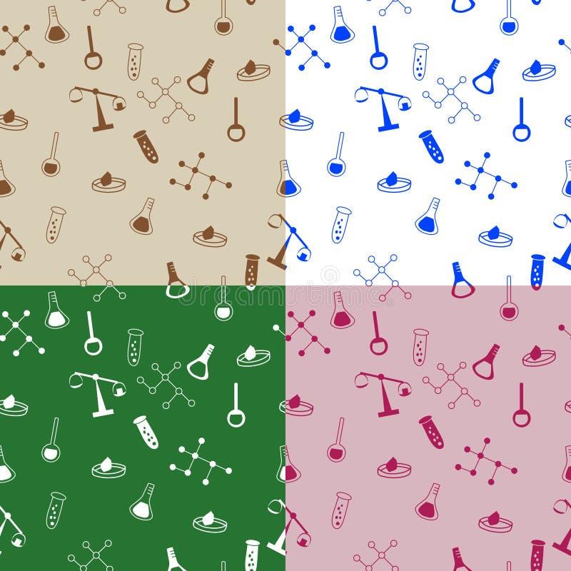 La molécule abstraite de flacon de chimie d'école de modèle mesure l'illustration sans couture rose beige vert-bleu illustration de vecteur