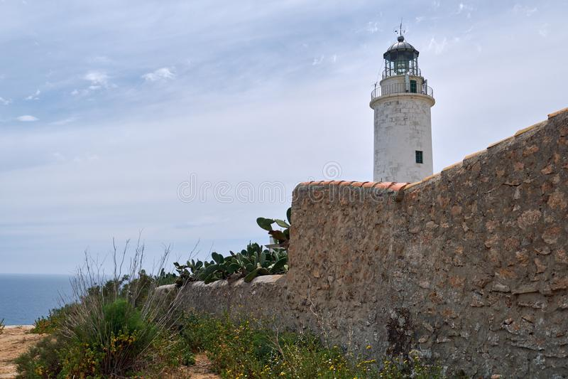 La Mola lighthouse in the Formentera Island. Balearic Islands royalty free stock photos