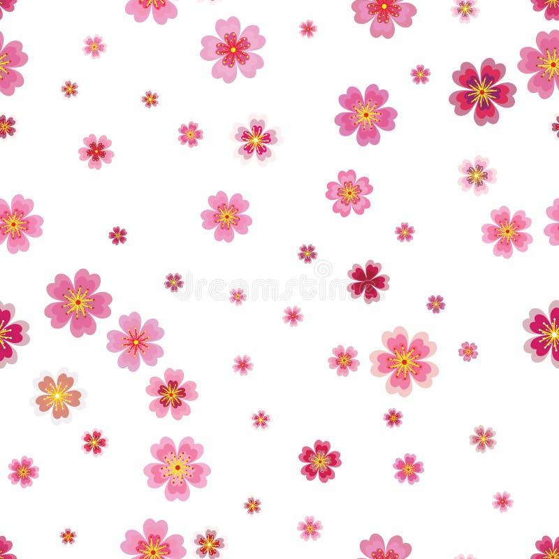 La molla giapponese di sakura della ciliegia rosa fiorisce il modello senza cuciture Tre illustrazione vettoriale