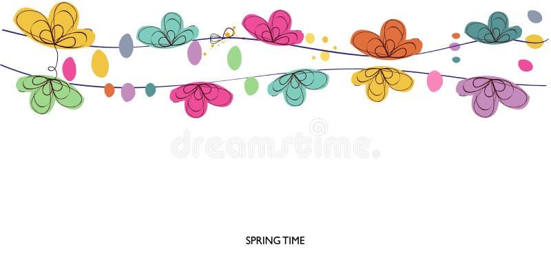 La molla variopinta ed il confine astratto floreale decorativo di ora legale vector il fondo illustrazione di stock