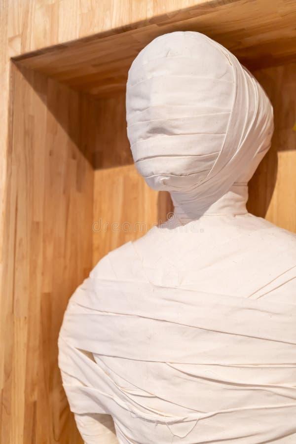 La momia egipcia cerr? los detalles contra fondo de madera imágenes de archivo libres de regalías