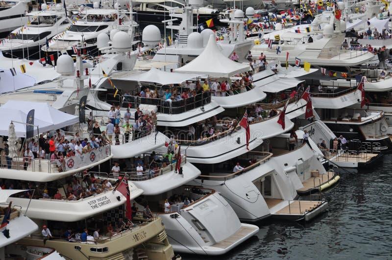 La Monaco, spettatori durante il F1 grande Prix 2012 fotografia stock