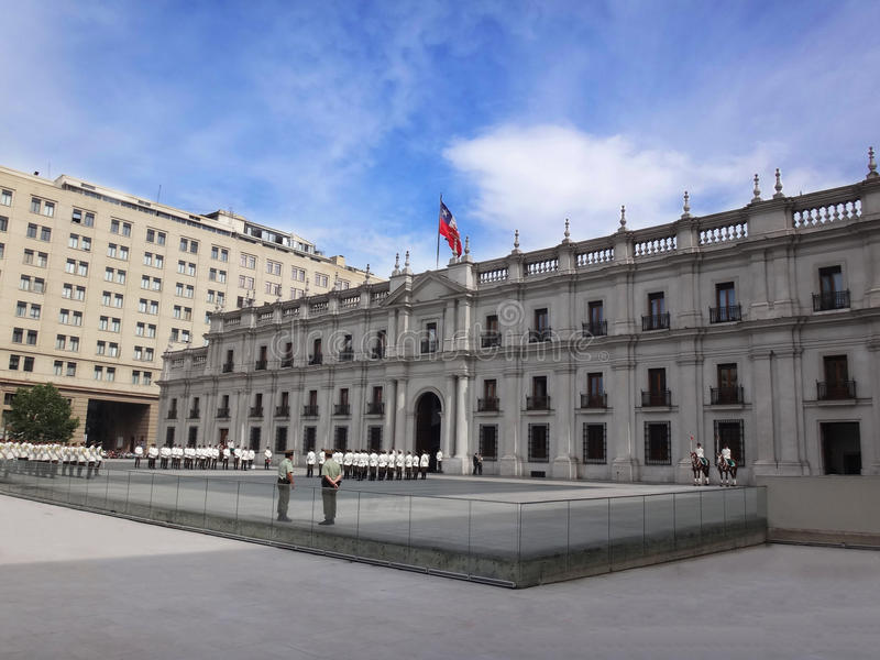 La Moneda宫殿,圣地亚哥,智利 图库摄影