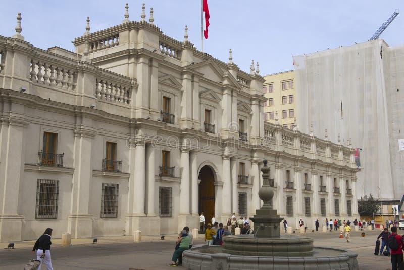 La Moneda总统府在圣地亚哥,智利 免版税库存图片
