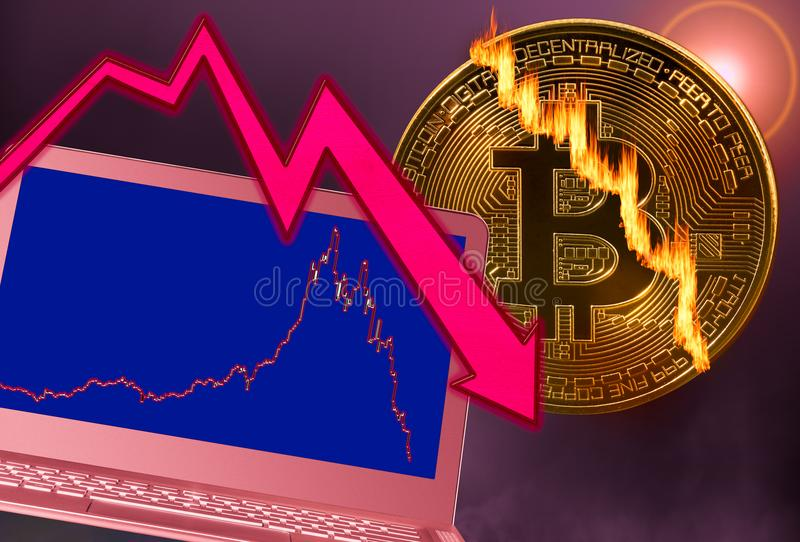 La moneda de Bitcoin se agrietó en quiebra del mercado con el gráfico del ordenador portátil imágenes de archivo libres de regalías