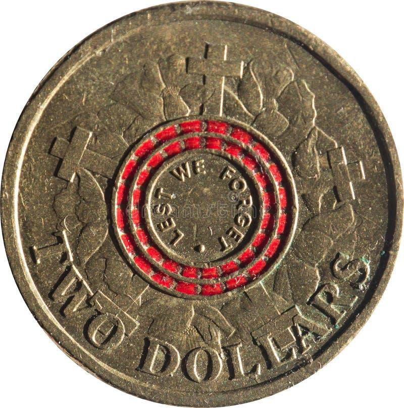 La moneda de cobre australiana de dos dólares que conmemora 100 años desde los aterrizajes de Anzac Cove, inspirados por la amapo foto de archivo libre de regalías