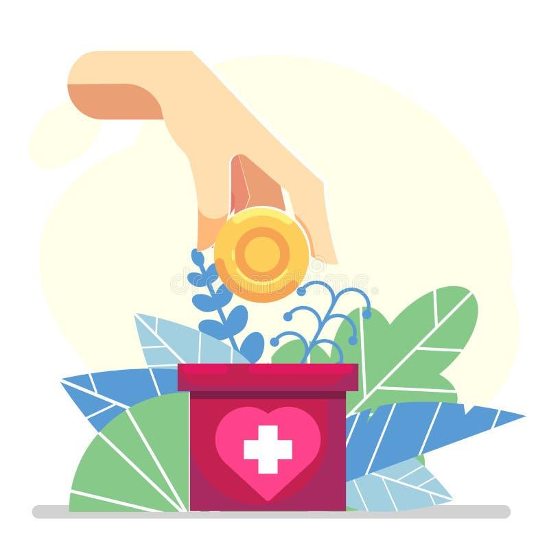 La moneda de depósito de la mano en una bandera de la caja del cartón dona - concepto floral plano de la ayuda de la caridad del  stock de ilustración