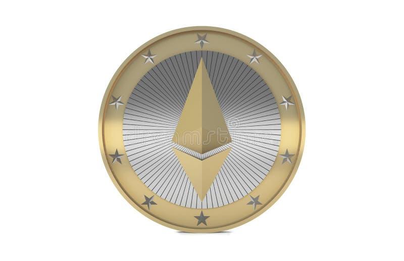 La moneda de Ethereum aislada en el fondo blanco, 3d rinde ilustración del vector
