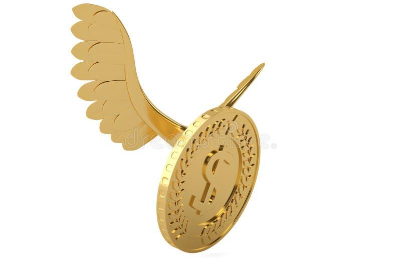 La moneda de oro con oro se va volando la moneda del vuelo ilustración 3D ilustración del vector