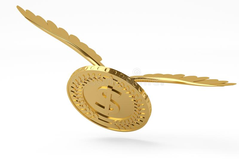 La moneda de oro con oro se va volando la moneda del vuelo ilustración 3D libre illustration