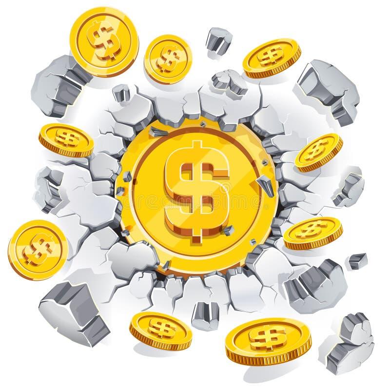 La moneda del dólar del oro que se rompe a través del muro de cemento ilustración del vector