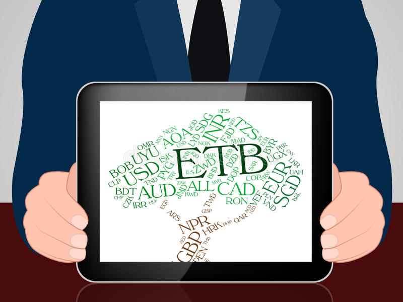 La moneda del ETB representa birr y monedas etíopes stock de ilustración