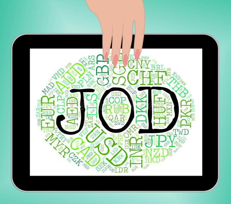 La moneda del JOD representa dinares jordanos y extranjero ilustración del vector