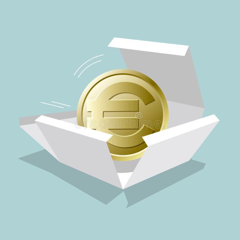 La moneda euro está en la caja ilustración del vector