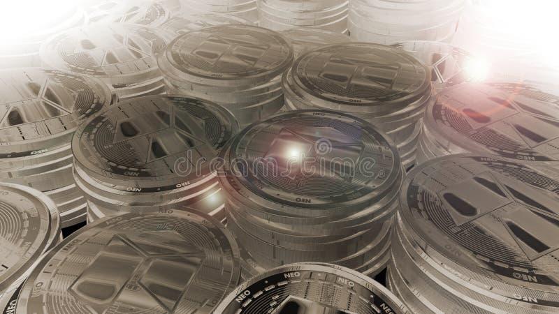 La moneda nea 3D del oro rinde fotos de archivo
