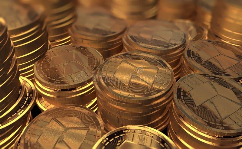 La moneda nea 3D del oro rinde fotografía de archivo