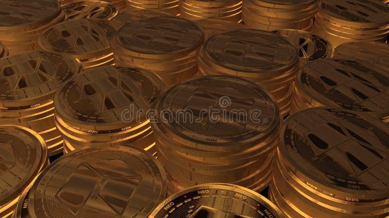 La moneda nea 3D del oro rinde foto de archivo libre de regalías