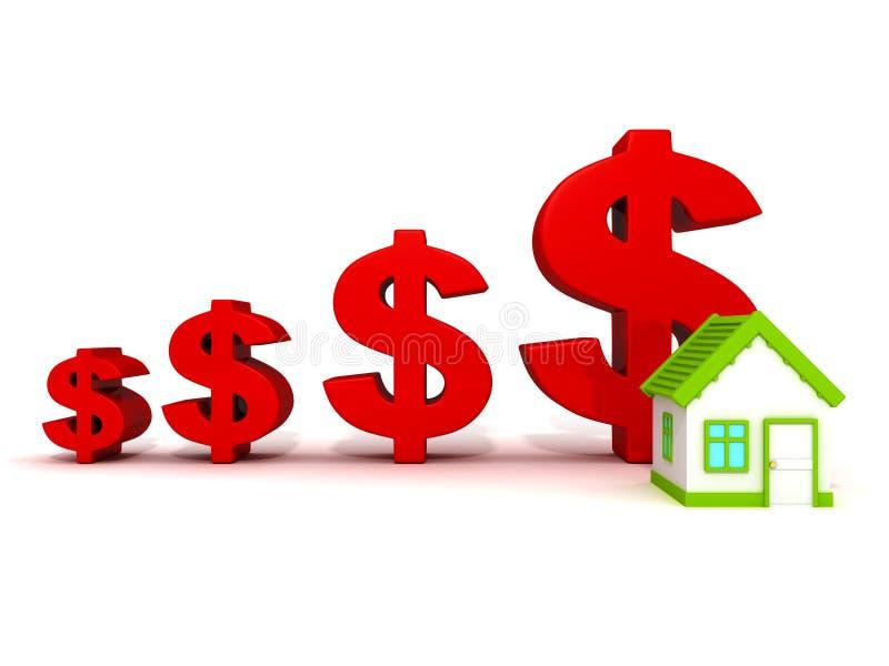 La moneda roja del dólar crece la carta. precio de las propiedades inmobiliarias ilustración del vector