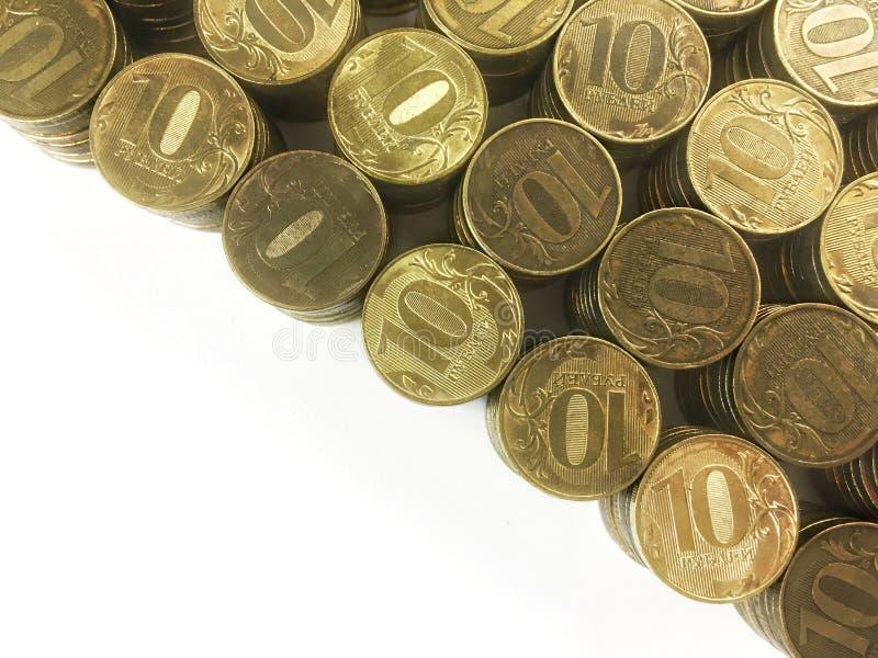 La moneda rusa diez rublos en un fondo blanco imagenes de archivo