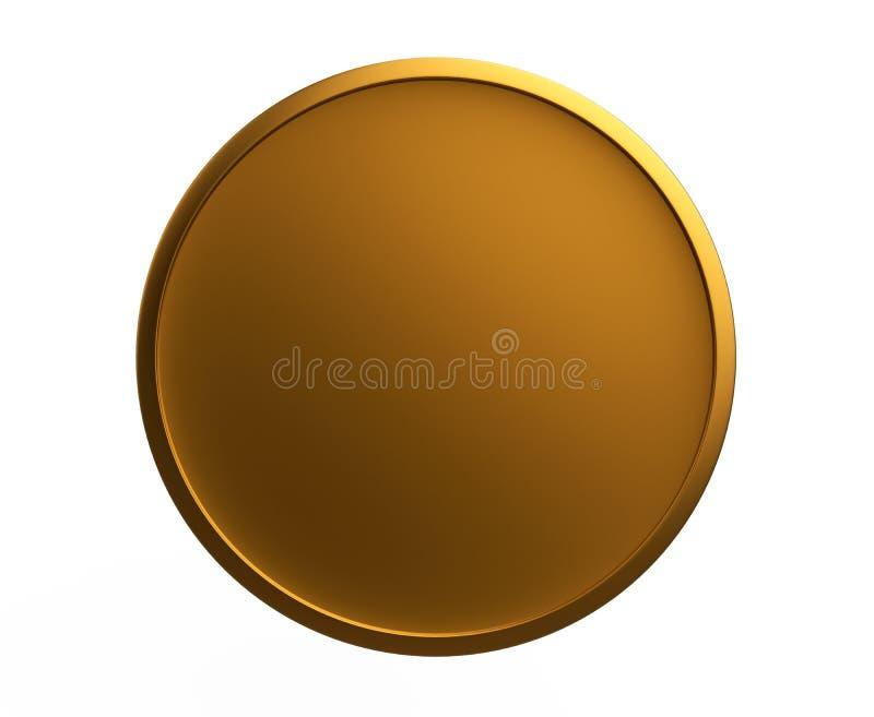 La moneta 3d dell'icona della medaglia del bottone dell'oro rende il modello illustrazione vettoriale
