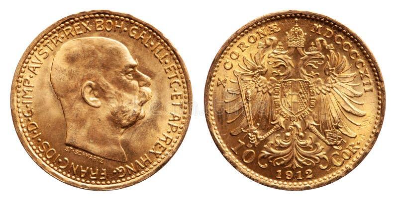 La moneta di oro dell'Austria 10 kronen l'annata 1912 immagine stock