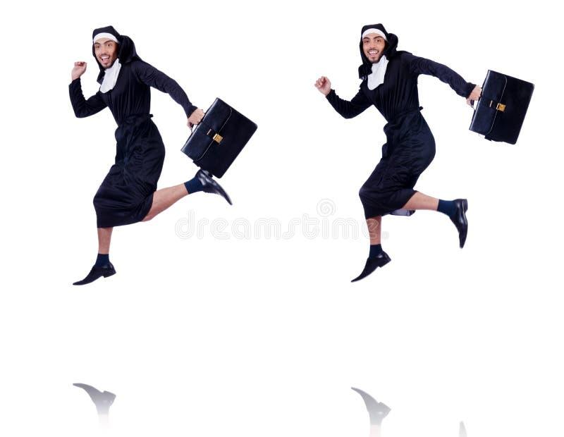 La monja de sexo masculino en concepto religioso divertido fotos de archivo