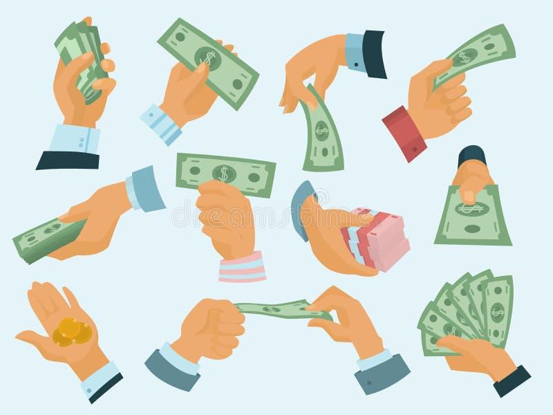La monnaie fiduciaire humaine de prise de mains d'homme d'affaires soutient l'illustration de vecteur illustration de vecteur