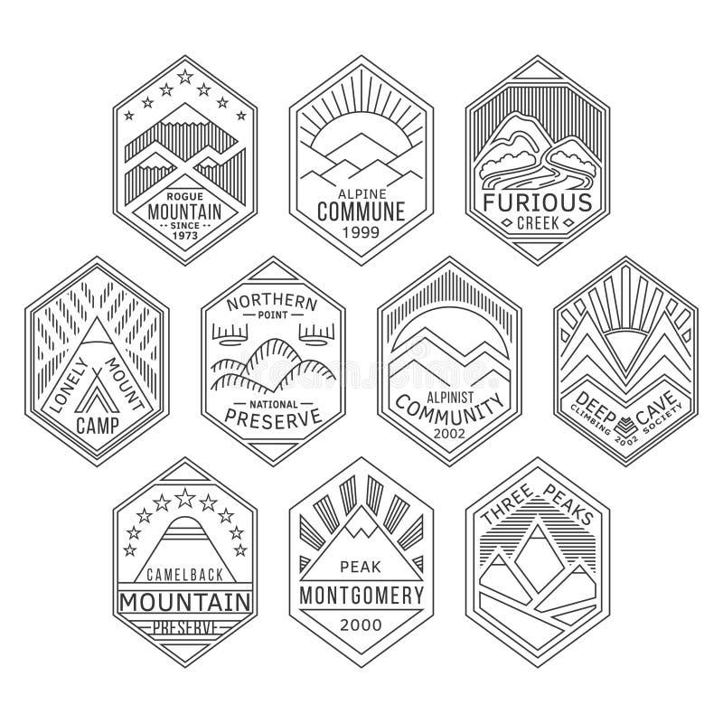 La montagna badges 1 lineare illustrazione vettoriale